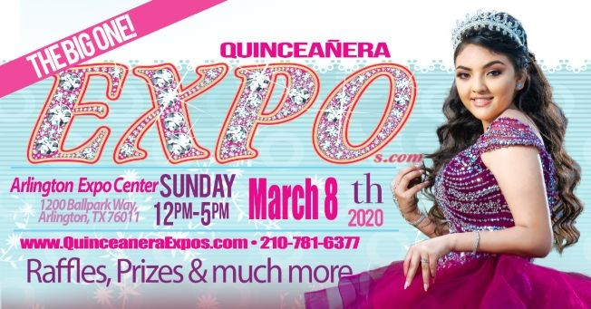 Flyer for Dallas Quinceanera Expo March 8th 2020 at the Arlington Convention Center