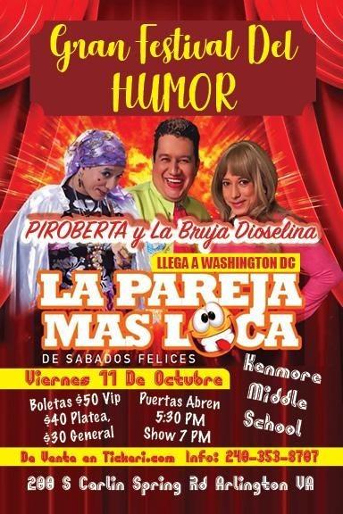Flyer for Gran Festival de Humor: Piroberta y La Bruja Dioselina En Arlington,VA