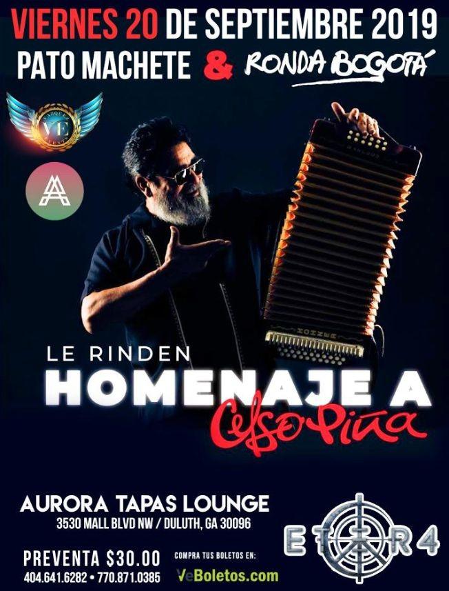 Flyer for Pato Machete y Ronda Bogota le rinden homenaje a CELSO PINA