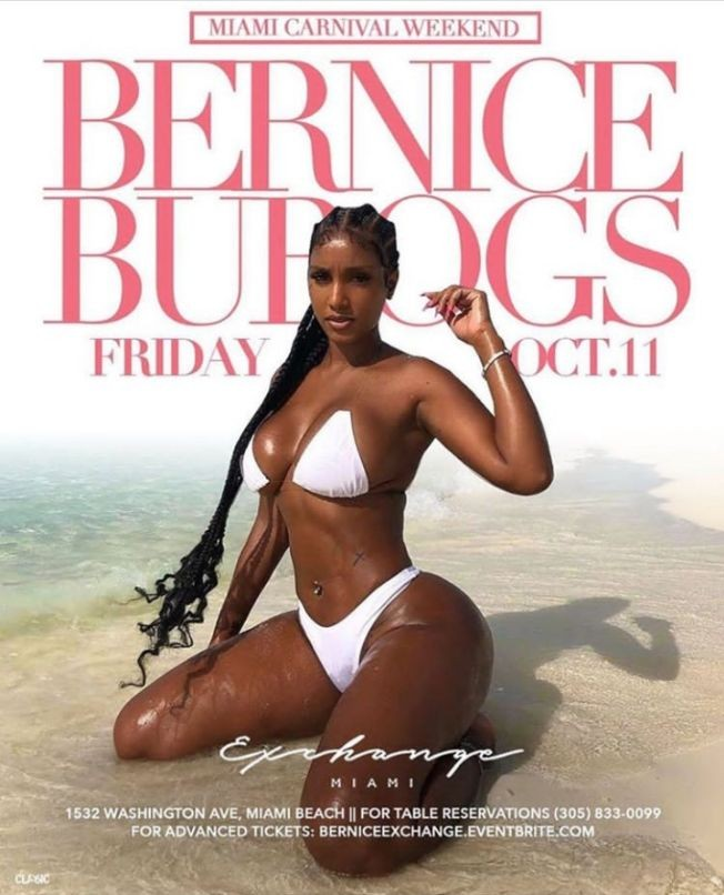 Flyer for Miami Carnival Weekend With Bernice Burgos At Exchange Miami