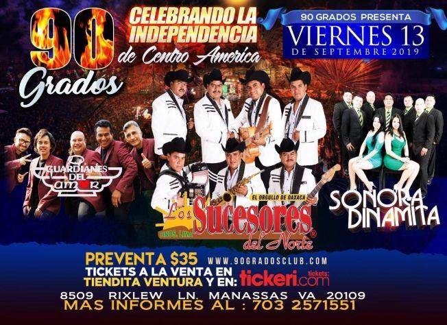 Flyer for Los Sucesores del Norte, Guardianes del Amor y Sonora Dinamita