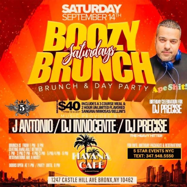 Flyer for Saturday Boozy Brunch & Day Party