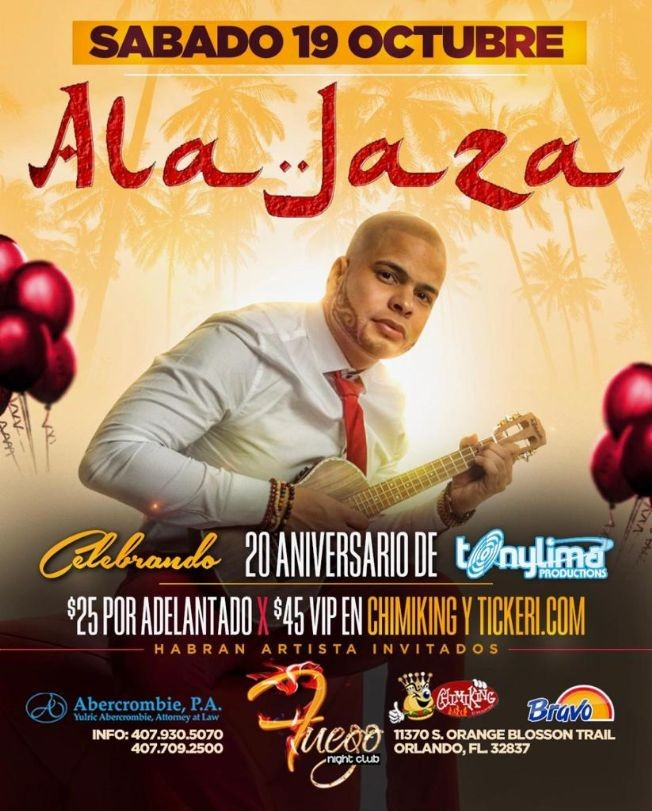 Flyer for Ala Jaza y Mas En Concierto En Orlando,FL