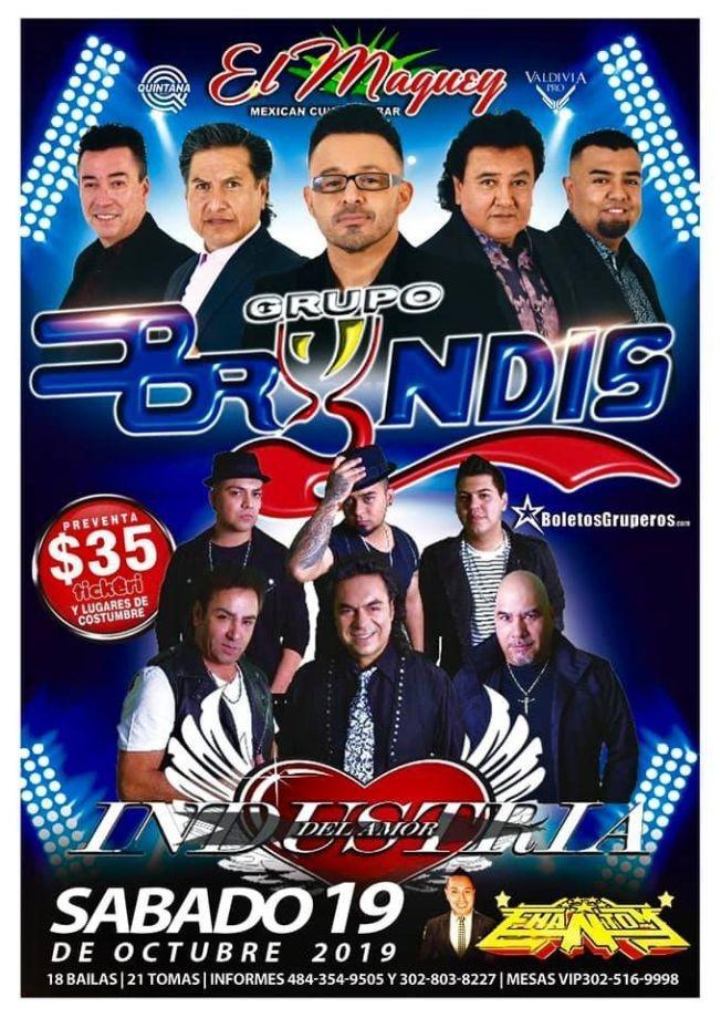 Flyer for Grupo Bryndis E Industria Del Amor En Concierto En  Wilmington,DE