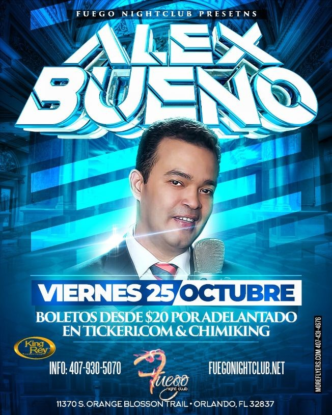 Flyer for Alex Bueno CANCELED