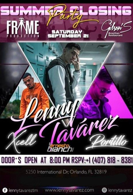 Flyer for summer closing party with lenny tavarez