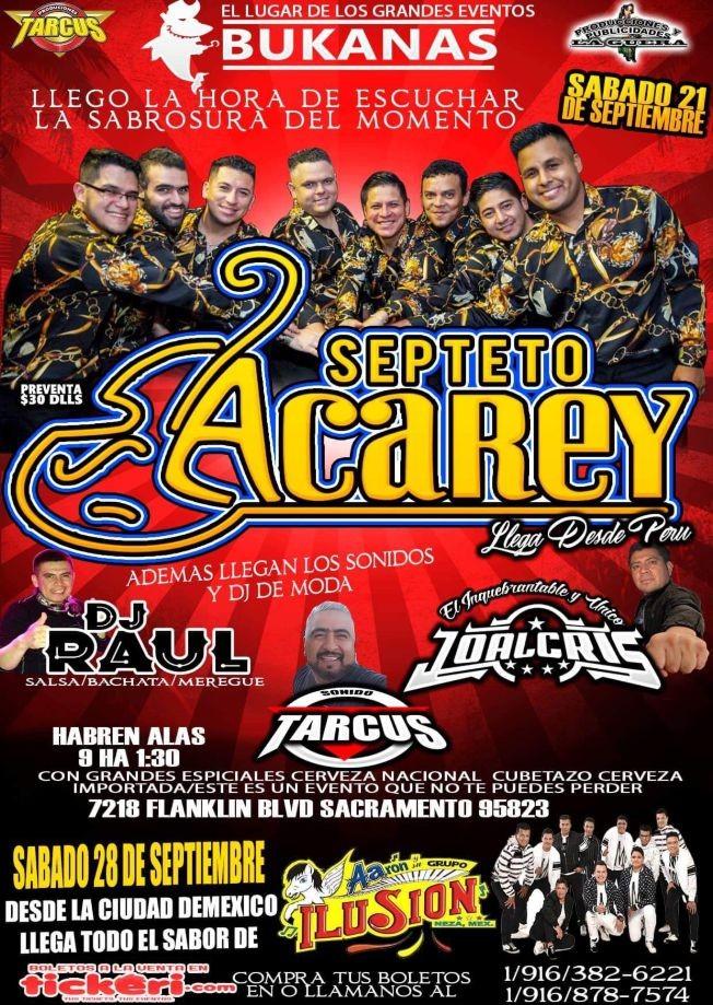 Flyer for Septeto Acarey En Sacramento, CA