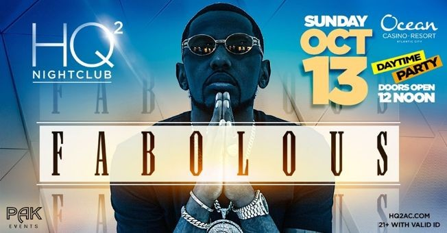Flyer for Columbus Day Weekend Daytime Event Fabolous Live At Hq2 Nightclub