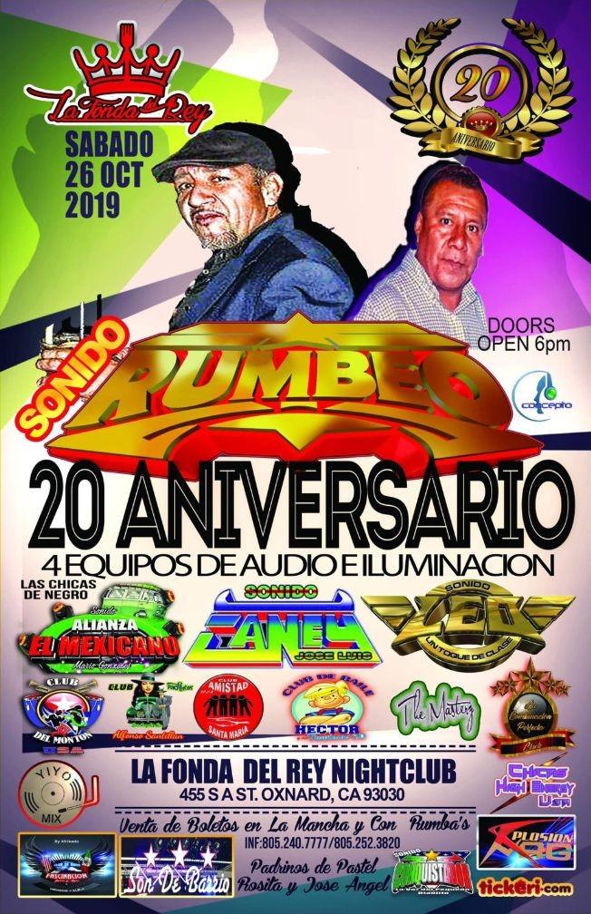 Flyer for Sonido Rumbeo 20 Aniversario y Mas En Oxnard,CA