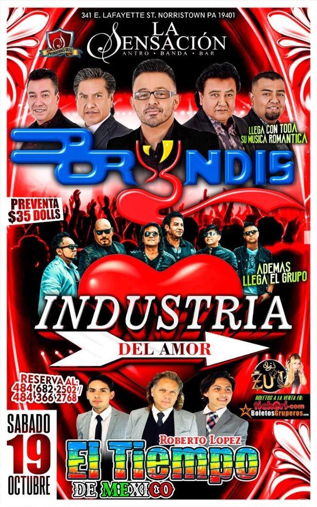 Flyer for Sensación : Bryndis y Industria del Amor