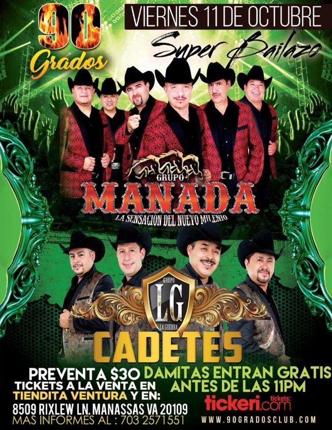Flyer for Super Bailazo Grupo Manada y Grupo La Guerra Cadetes En Manassas,VA