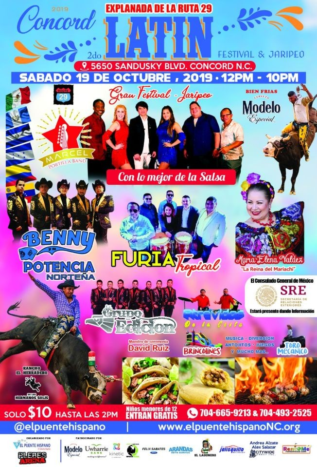 Flyer for 2019 Concord Latin Festival & Jaripeo