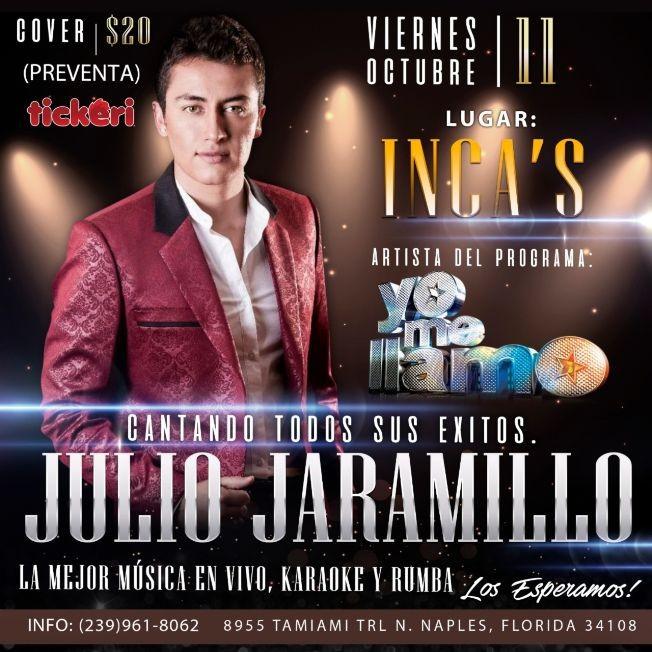 Flyer for Julio Jaramillo  Homenaje  Naples Fl.