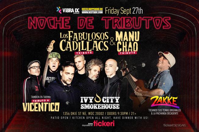 Flyer for Tributo a Los Fabulosos Cadillacs & Manu Chao + Tributo a Vicentico y Zakke con La Pachanga Decadente