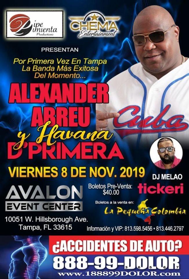 Flyer for ALEXANDER ABREU y HAVANA D' PRIMERA En TAMPA Fl
