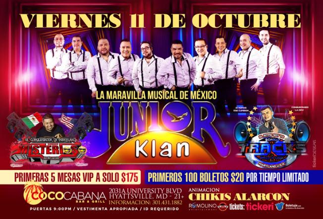 Flyer for JUNIOR KLAN en Cococabana-MD