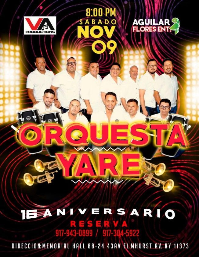 Flyer for Orquesta Yare
