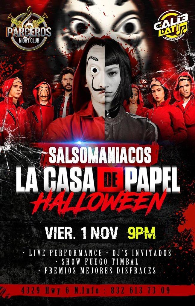 """Flyer for SALSOMANIACOS HALLOWEEN """"LA CASA DE PAPEL"""""""