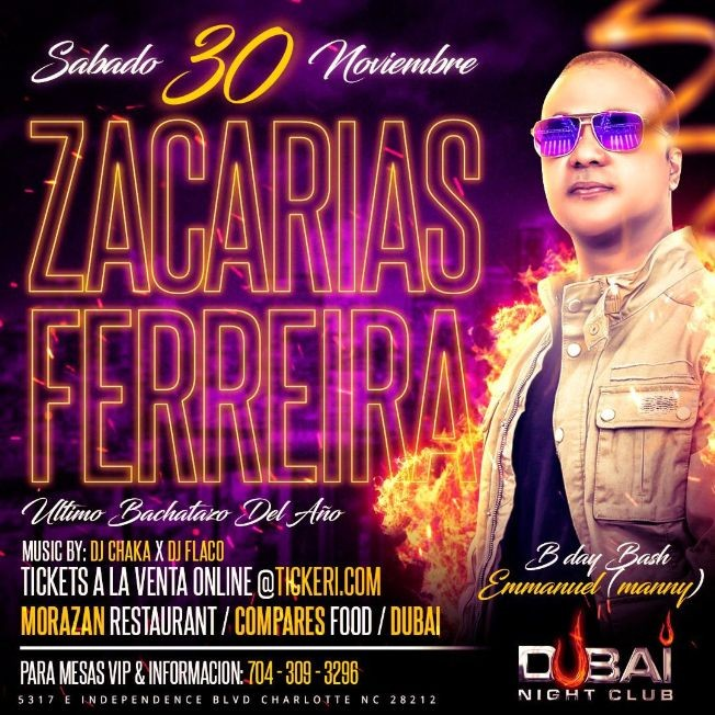 "Flyer for Zacarias Ferreira ""En Concierto"" Sabado 30 de Nov 2019 @ Dubai Nightclub"