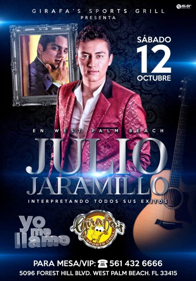 Flyer for JULIO JARAMILLO(yo me llamo) en West Palm Beach !!
