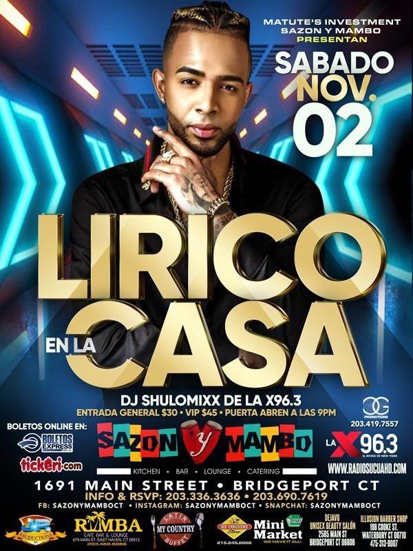 Flyer for Lirico En La Casa En Concierto En Bridgeport, CT