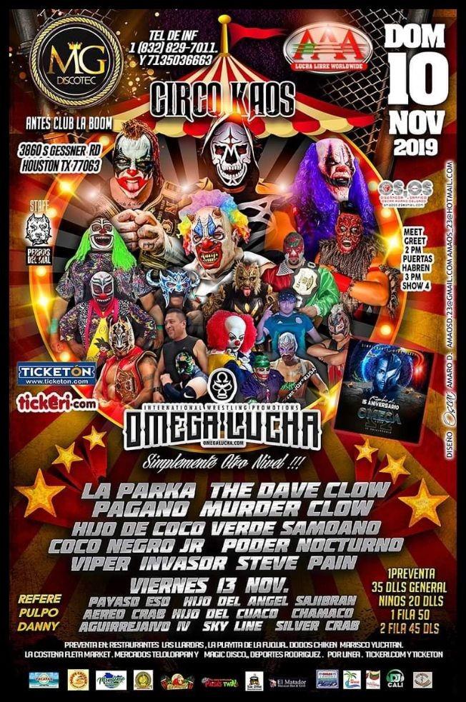 Flyer for Circo Kaos con Omega Lucha En Houston, TX