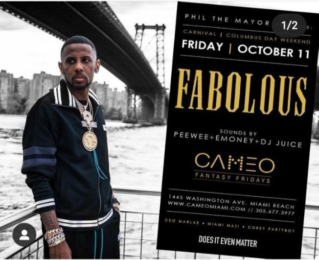 Flyer for Columbus Day/ Carnival Weekend Fabolous Live At Cameo Nightclub