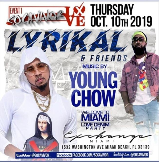 Flyer for Miami Carnival Weekend Kickoff Lyrikal & Friends at Exchange Miami