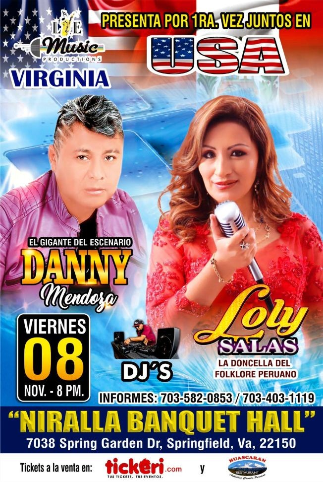 Flyer for Danny Mendoza & Loly Salas En Concierto En Springfield,VA