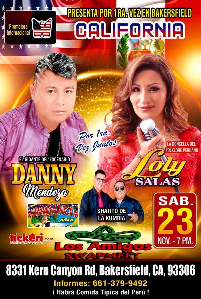 Flyer for Danny Mendoza & Loly Salas En Concierto En Bakersfield,CA