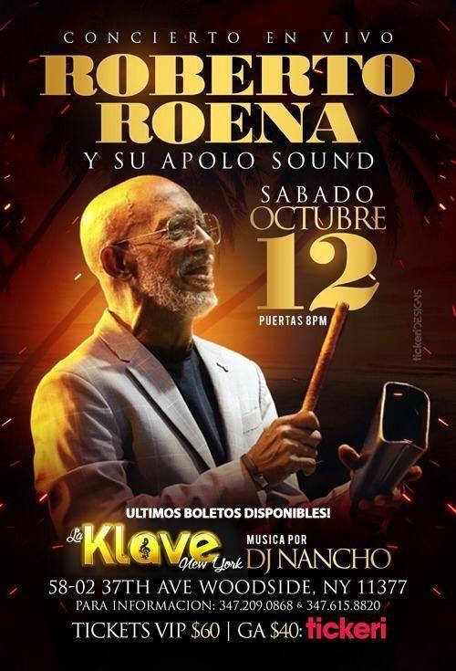 Flyer for Roberto Roena  y Su Apolo Sound En Queens, NY