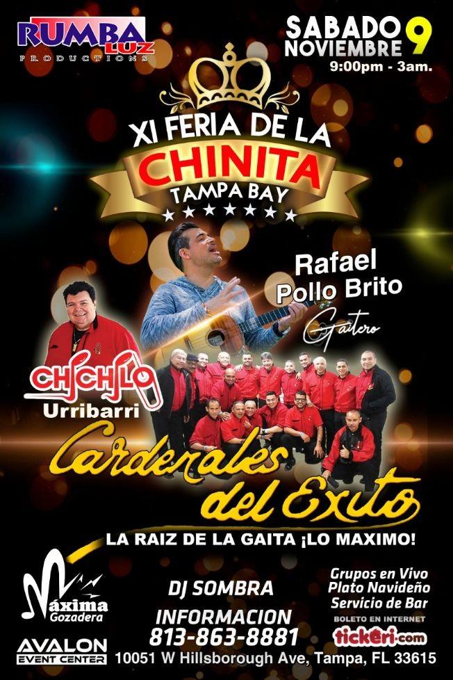 Flyer for Feria de La Chinita Tampa Bay 2019 Cardenales del Éxito y El Pollo Brito