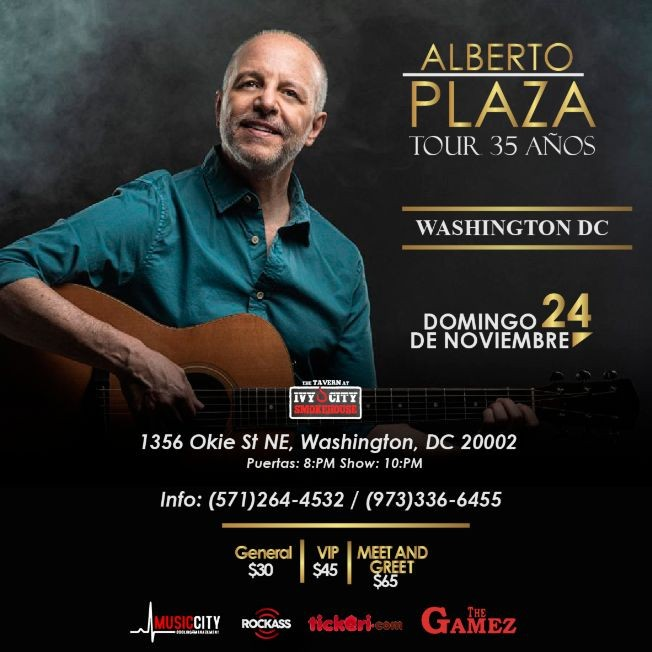 Flyer for Alberto Plaza en Concierto Washington