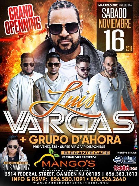 Flyer for Luis Vargas y Grupo D'Ahora en Camden NJ
