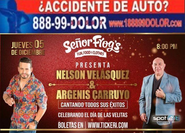 Flyer for 2NIGHT Nelson Velasquez & Argenis Carruyo en Senor Frogs