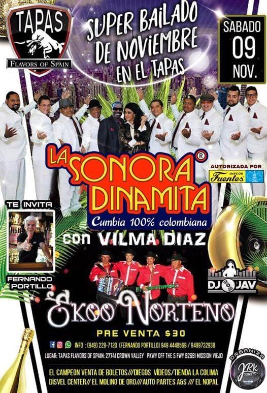 Flyer for La Sonora Dinamita Con Vilma Diaz En Mission Viejo,CA