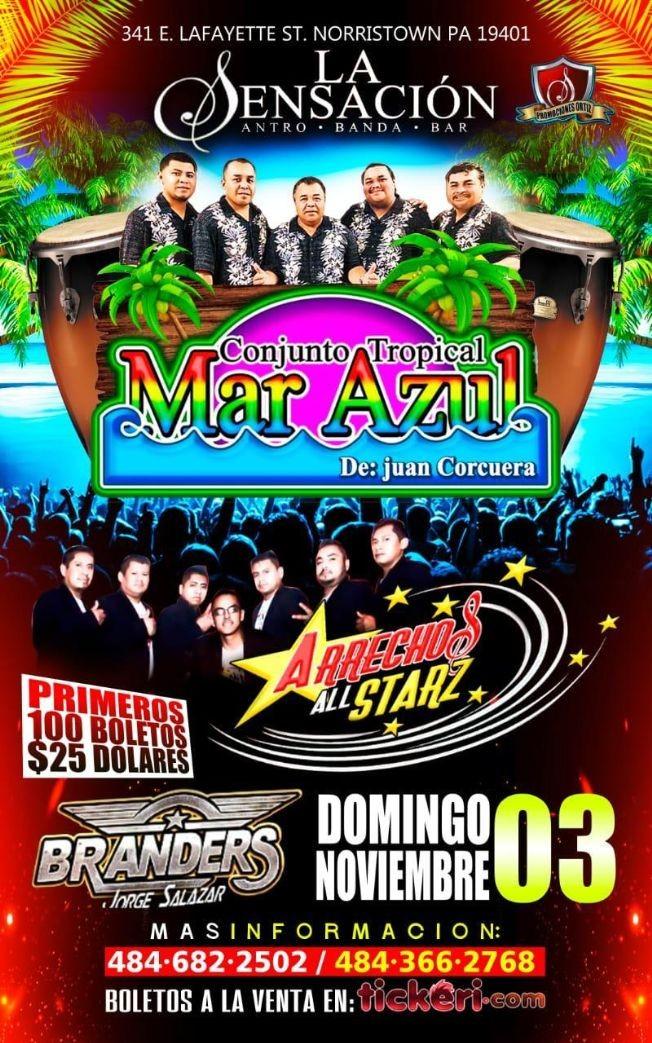 Flyer for MAR AZUL Y ARRECHOS ALLSTARZ