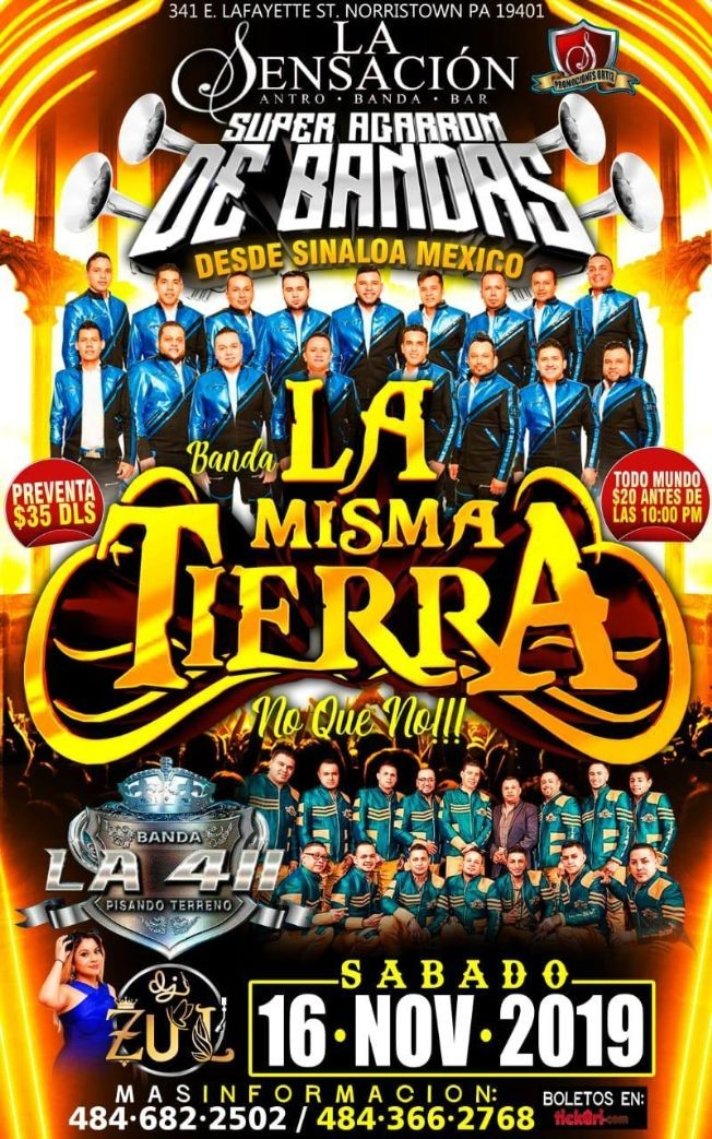 Flyer for BANDA LA MISMA TIERRA EN LA SENSACION