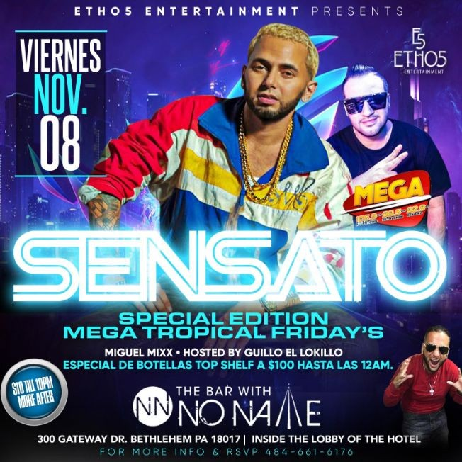Flyer for Mega Tropical Friday's present Sensato Live!