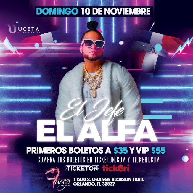 Flyer for El Alfa en Orlando