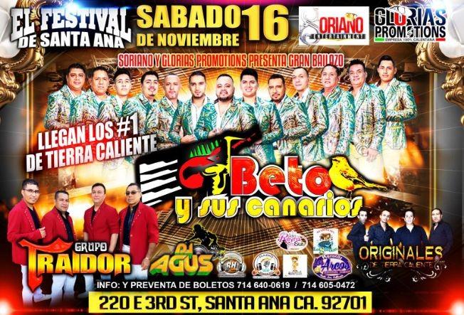 Flyer for Beto Y Sus Canarios En El Festival Santa Ana,CA