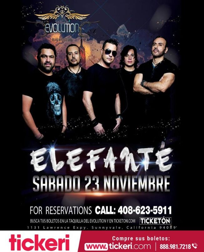 Flyer for Elefante En Concierto En Sunnyvale,CA