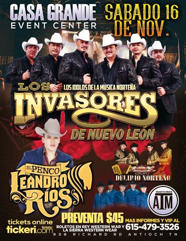 Flyer for Los Invasores De Nuevo Leon y Mas En Antioch,TN