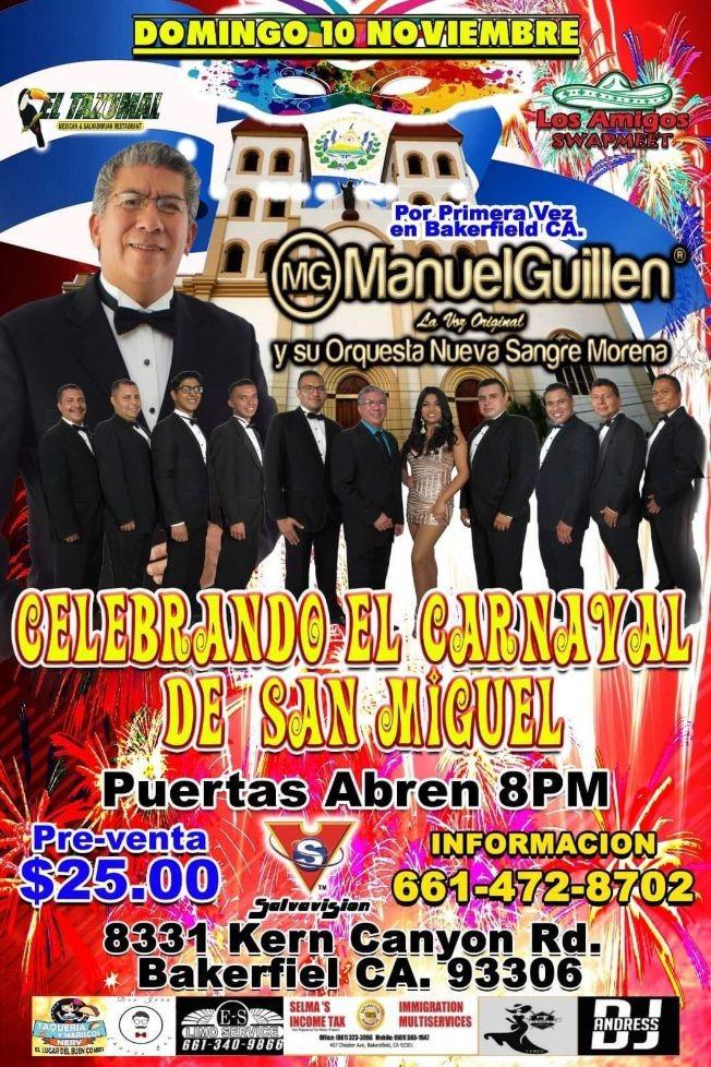 Flyer for Celebrando El Carnaval de San Miguel Con Manuel Guillen y Su Orquesta En Bakerfiel,CA