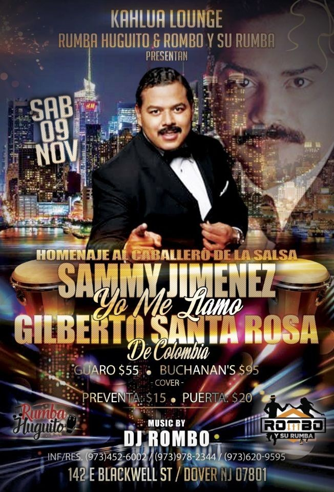 Flyer for Sammy Jimenez YO ME LLAMO Gilberto Santa Rosa COLOMBIA