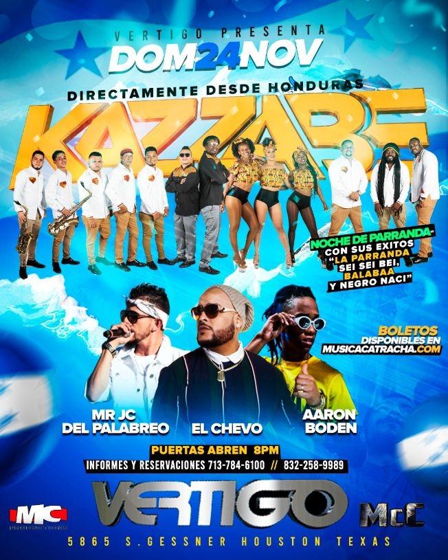 Flyer for Kazzabe - Vertigo Nightclub - Houston Texas