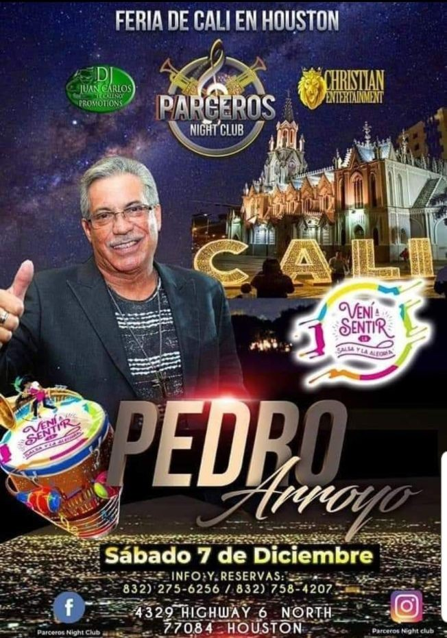 Flyer for Pedro Arroyo Feria de Cali en Houston