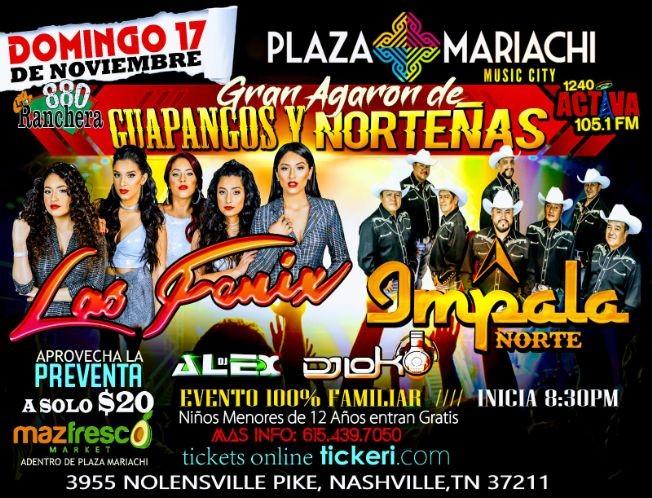 Flyer for Guapangos y Norteñas Impala Norte & Las Fenix En Nashville,TN