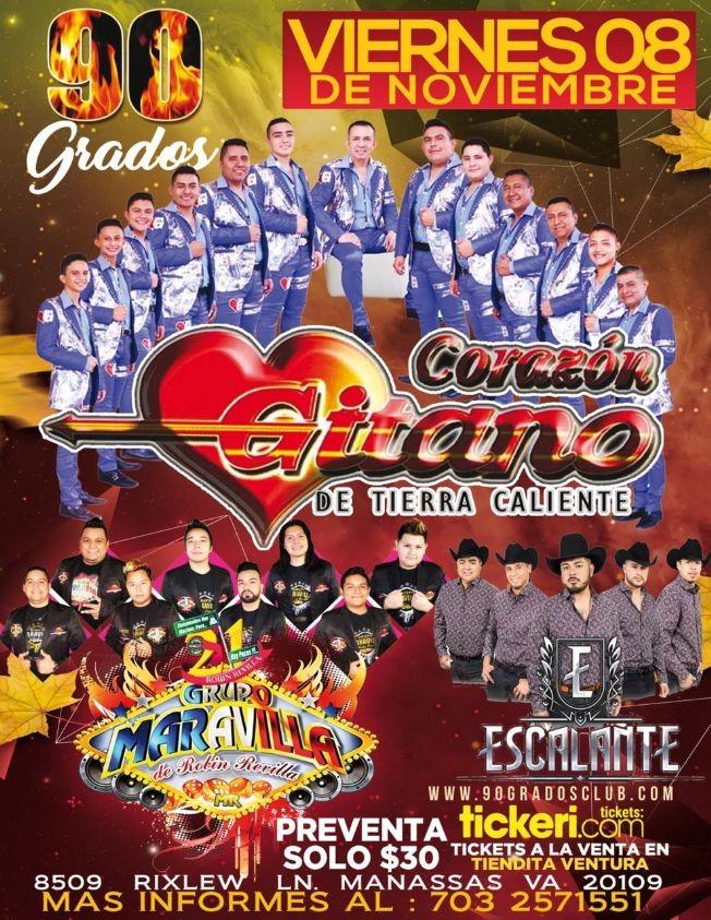 Flyer for Corazon Gitano De Tierra Caliente y Mas En Manassas,VA