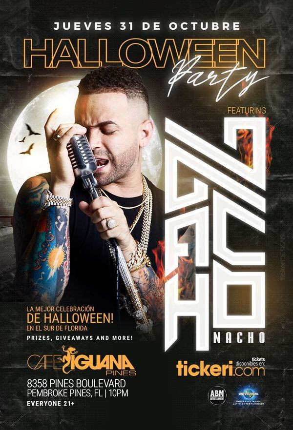 Flyer for NACHO EN CAFE IGUANA PINES - MIAMI/FORT LAUDERDALE/WEST PALM BEACH